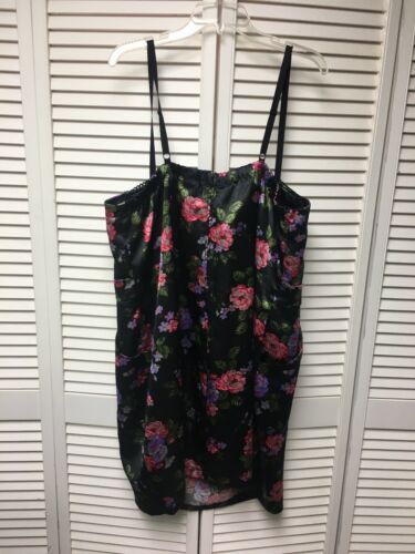 Torrid Women's Size 26 Black Dress With Multicolor Floral Print Spaghetti Straps