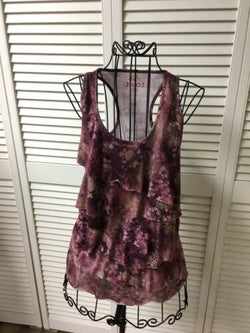 Mudd Juniors Size Small Tank Top W/ Ruffeled Front Multcolor Pattern