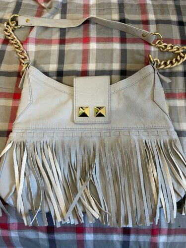 Aldo Grey Fringed Purse With Gold Hardware