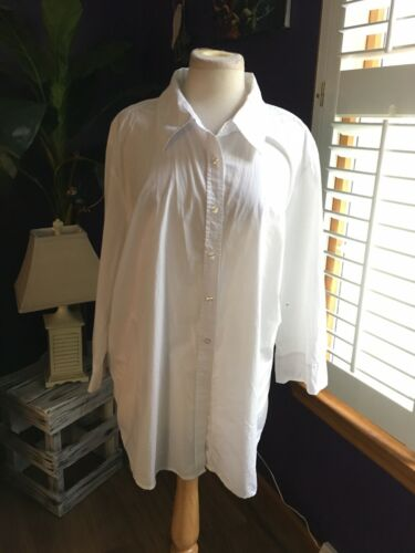 Izod Women's Size 3X White Button Down Blouse Long Sleeves W/ Collar