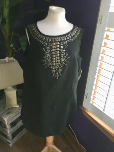 Style & Co Women's Size 14 Black Dress Sleeveless W/ Bronze Beaded Neck Line NWT