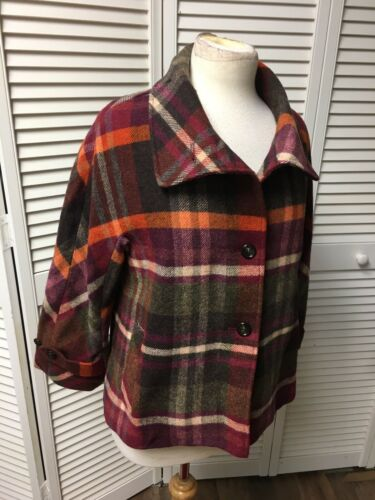 Talbots Women's Size 4 Plaid Peacoat Multicolor Coat Jacket NWT
