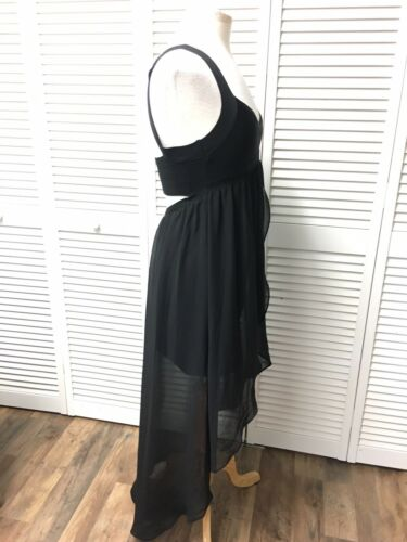 Bebe Women's Sz XS Black Dress Short W/ Sheer Midi/maxi Bottom, Open Zipper Back
