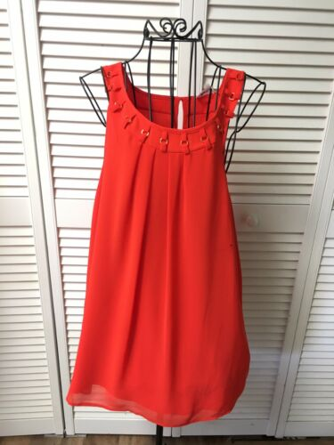 Calvin Klein Women's Size XL Orange Sleeveless Blouse Gold Rings Around Neck