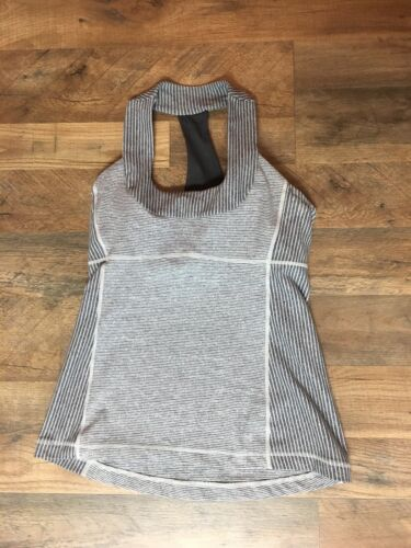 "Lululemon Women's 30"" Chest Razor Back Athletic Tank Top Built In Bra Grey"