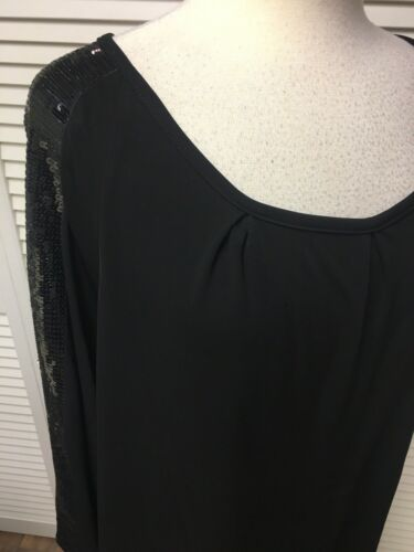 Anna Scholz Saks Fifth Avenue Women's Size 22 Black Dress Long Sleeve W/ Sequins