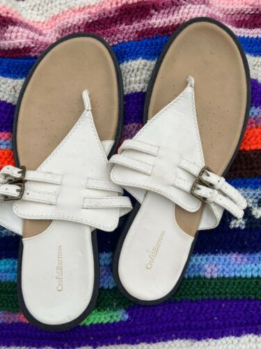 womens croft and barrow White Vegan Lesther Flip Flop Thongs 9.5