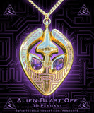 """Alien Blast Off"" 3D Pendant - Royal Glow"