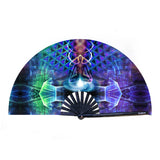 """Astral Body"" 13.25'' Bamboo Folding Hand Fan"
