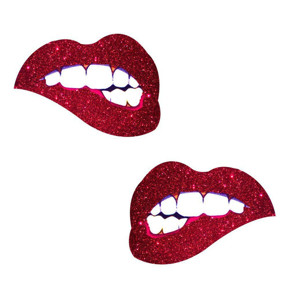 Freaking Awesome Red Glitter Bite Me Nipztix  Pasties NN-FA-BTE-NS