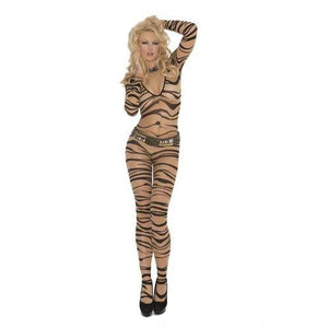 Zebra Print Body Stocking - One Size - Nude/black EM-1690