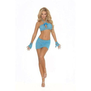 3 Piece Lace Cami Top Set - One Size - Turquoise EM-1558