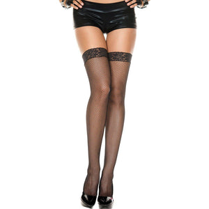 Lace Top Fishnet Thigh Hi - One Size - Black ML-4905-BLK