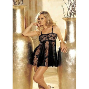 Stretch Lace, Sheer Net, & Lace Panels Babydoll - One Size - Black HOT-96120BLK