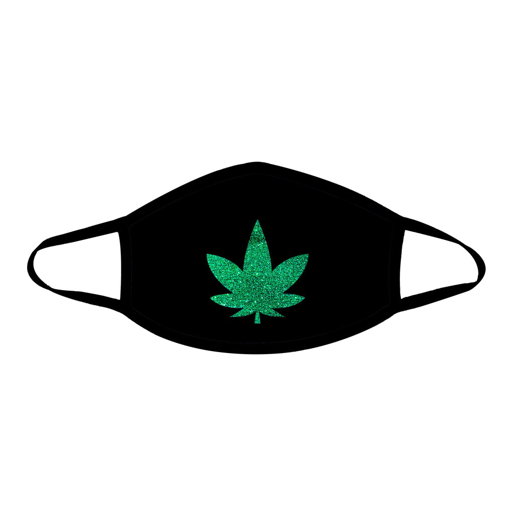 Dope Af Green Glitter Weed Leaf Black Face Mask With Black Trim NN-MSKM-WEEBLA