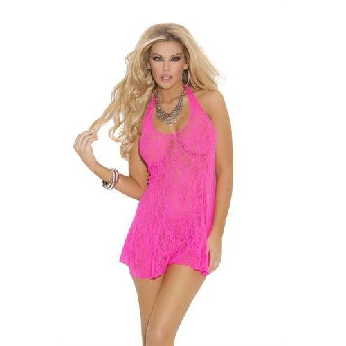 Lace Halter Mini Dress - One Size - Neon Pink EM-1422NP
