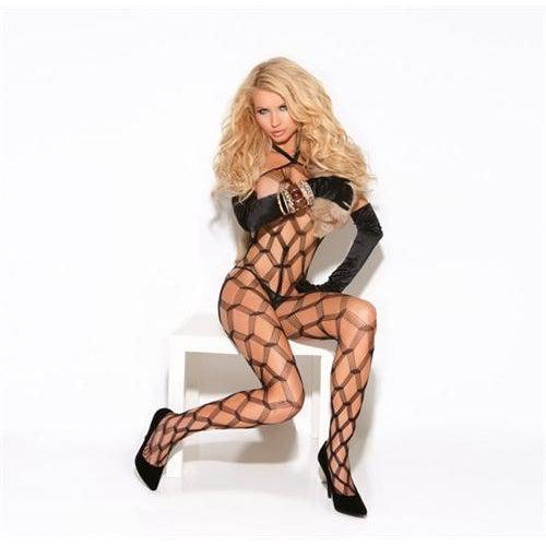 Diamond Net Body Stocking - One Size - Black EM-8620