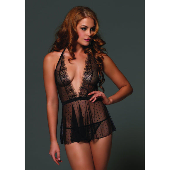 2 Pc. Empire Waist Halter Babydoll With Matching G-String - Medium/large LA-81520ML