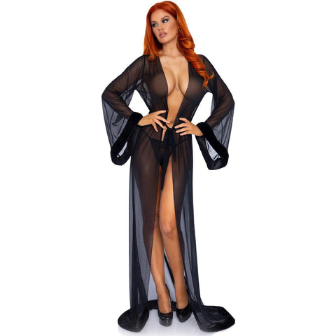 3pc Fur Trimmed Robe Set - Black - One Size LA-86110BLK