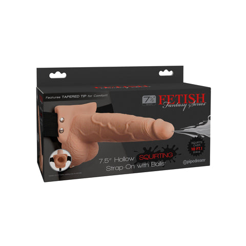Fetish Fantasy Series 7.5 Hollow Squirting Strap-on With Balls - Flesh PD3397-21