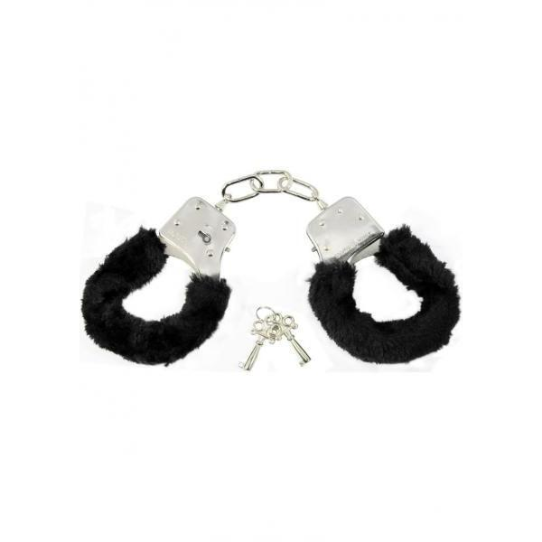 Sex and Mischief Furry Handcuffs - Black