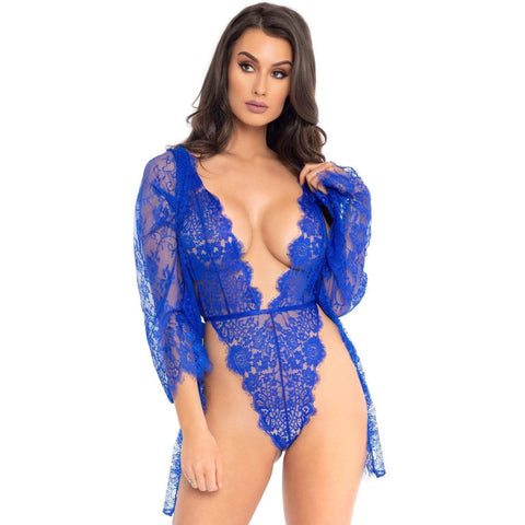 3pc Lace Teddy and Robe Set - Medium -  Royal Blue LA-86112RYLBLUM