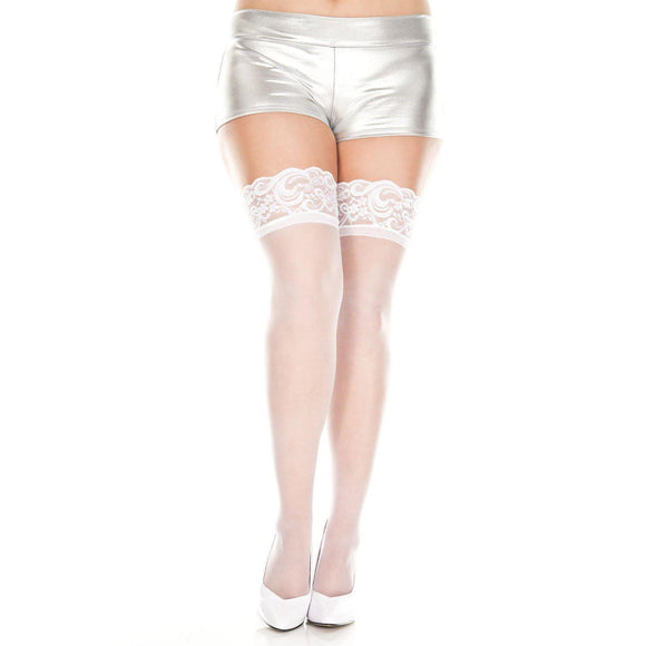 Lace Top Sheer Thigh Hi - Queen Size - White ML-4110Q-WHT