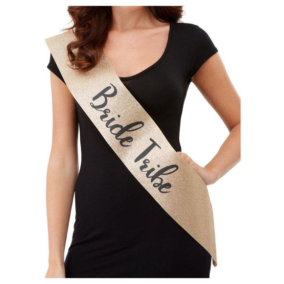 Deluxe Glitter Bride Tribe Sash - Gold and Black FV-52194