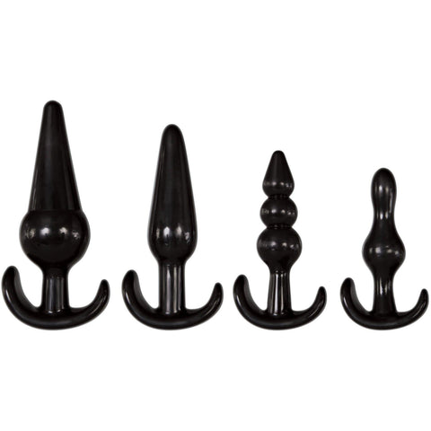 4 Piece Anal Plug Kit - Black AE-WF-4944-2
