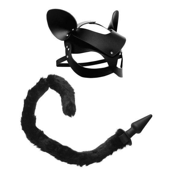 Black Cat Tail Anal Plug and Mask Set TZ-AG184