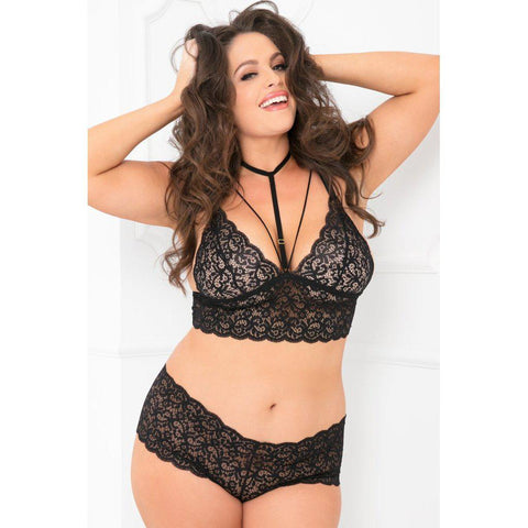 2pc Lace Choker Bra and Boyshort Set - 3x4x- Black RR-5301X-BLK3X4X