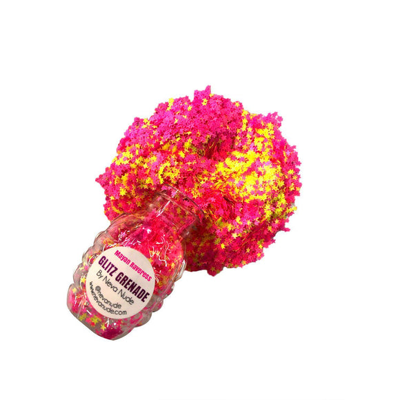 Mayan Raveress Neon Uv Cosmetic  Glitter Glitz Grenade Keychain in Aloe Gel NN-GG-MR-12A