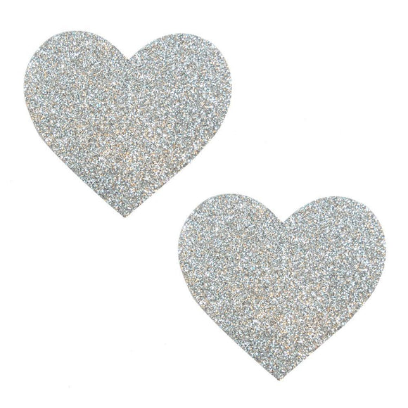 Silver Pikie Dust Glitter Heart Pasties NN-SPD-HRT-NS