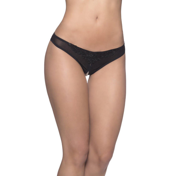 Crotchless Thong With Pearls - One Size - Black