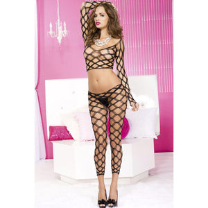 Spandex Multi Fence Net Long Sleeves Cami W / Footless Tights - One Size - Black ML-9309-BLK