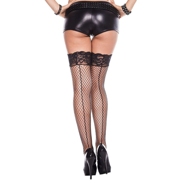 Backseam Silicone Lace Top Spandex Mini Diamond Net Thigh Hi - One Size - Black ML-49327-BLK