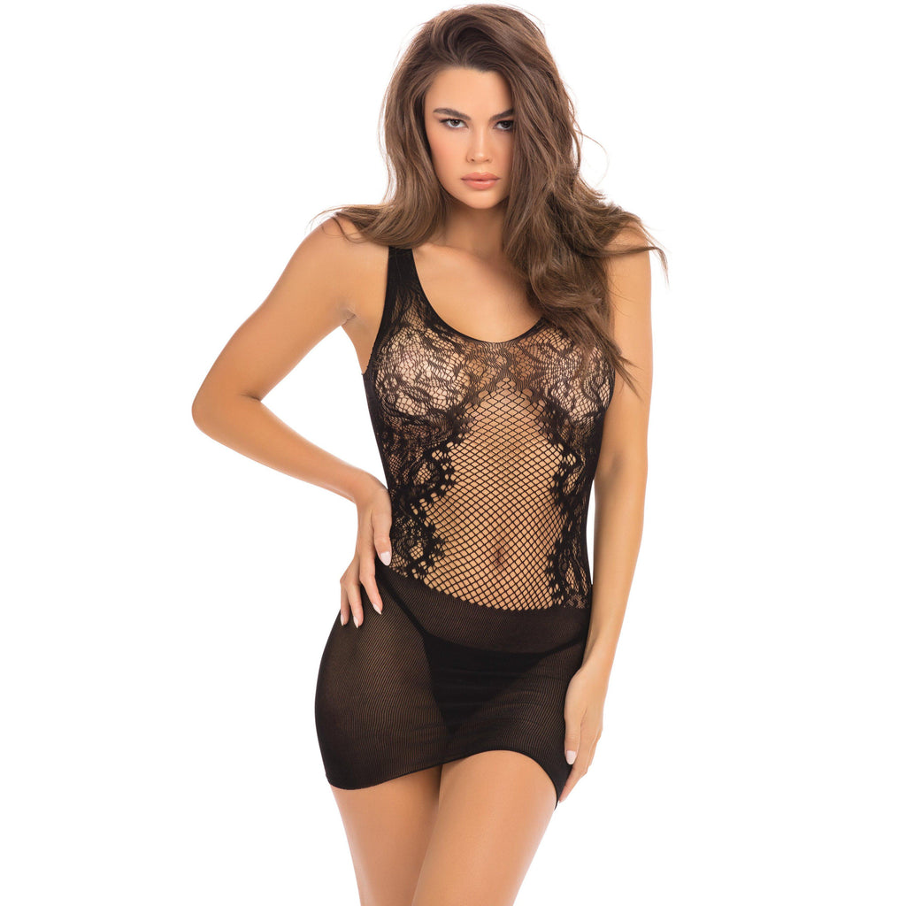 Lace Fantasy Mini Dress - Black - One Size RR-7086BLKOS