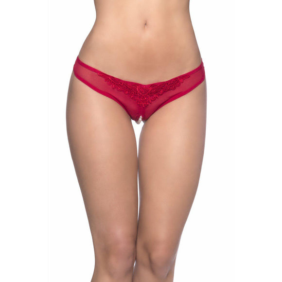 Crotchless Thong With Pearls - One Size - Red