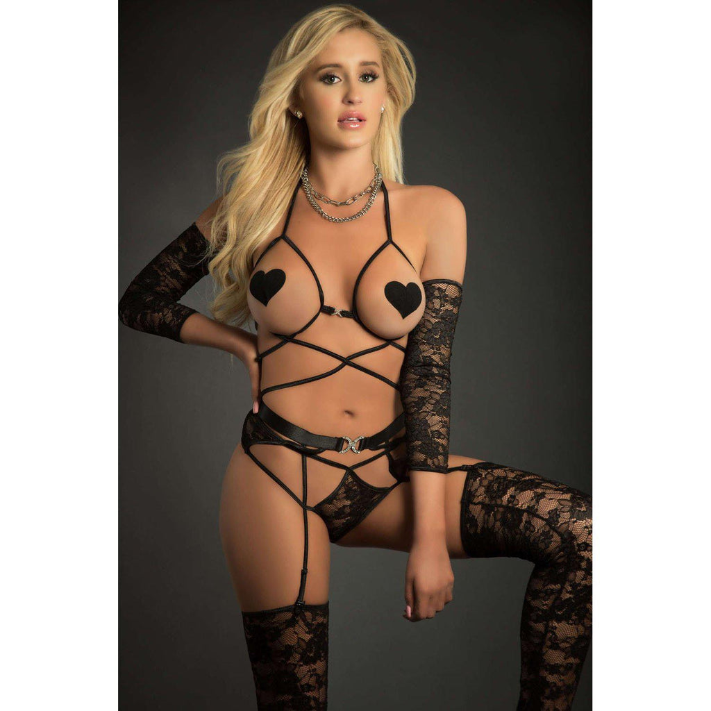 4pc Web Garter Teddy With Open Cups Laced Sleeves Pasties and Stockings - One Size - Black GWD-BL2010BK