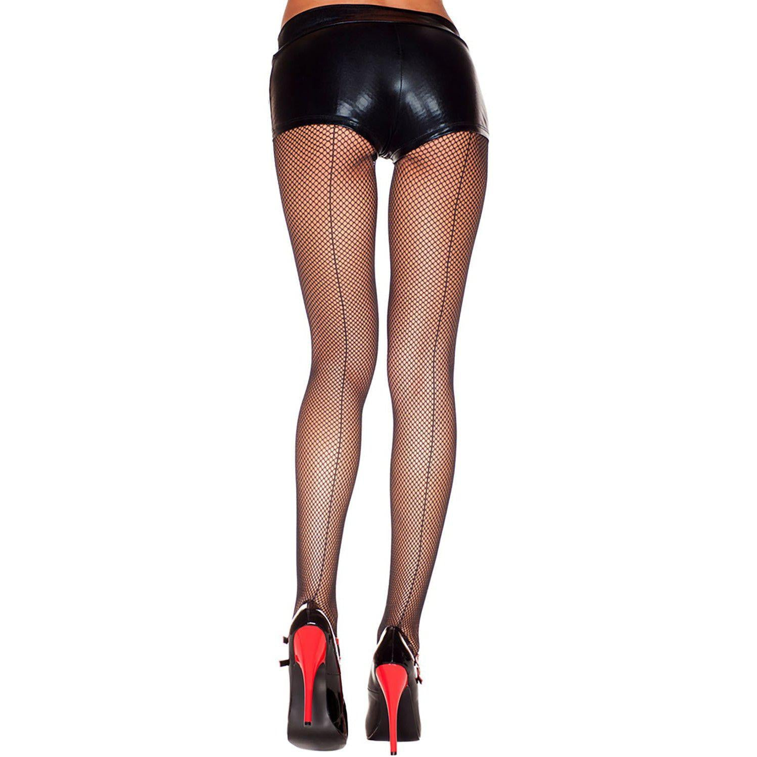Backseam Fishnet Pantyhose - One Size - Black ML-920-BLK