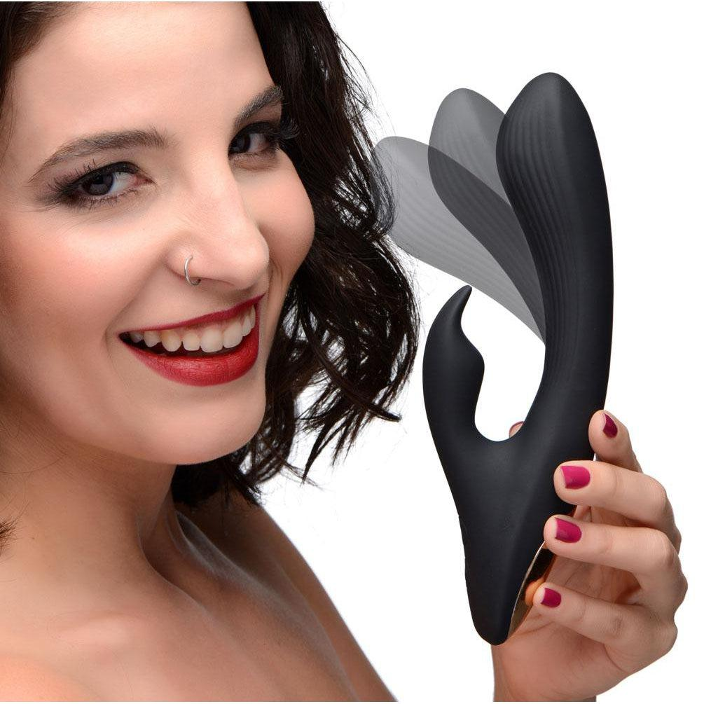 7x Bendable Silicone Rabbit Vibrator - Black WNDR-AG281