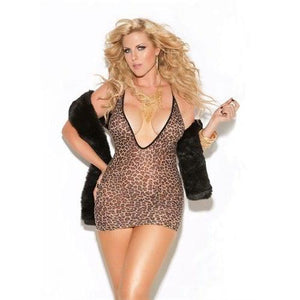Deep v Mini Dress - Queen Size - Leopard EM-8512Q