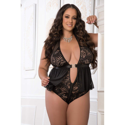 Zipper Crotch Teddy Babydoll - Queen Size - Black GWD-D1961PQBK