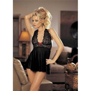 Stretch Mesh and Lace Baby Doll With Bow - One Size - Black & Red HOT-96164BRD