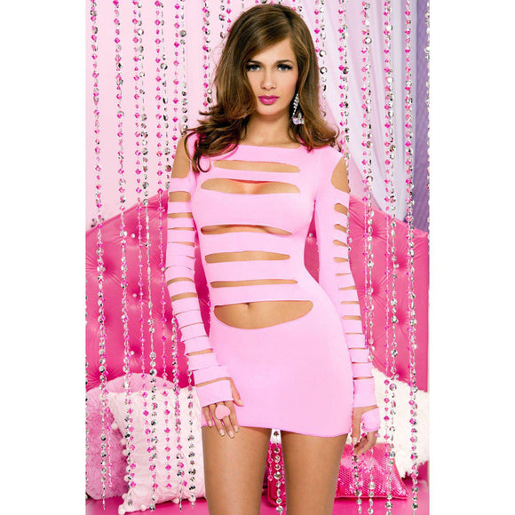 Opaque Long Sleeve Cut Out Front Dress - One Size - Neon Pink ML-6405-NEONPK