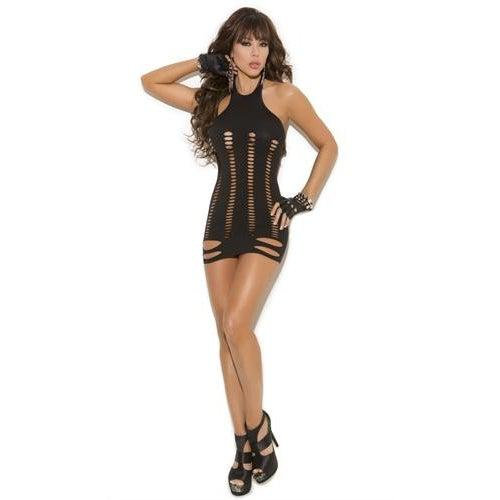 Pot Hole Mini Dress - One Size - Black EM-8909
