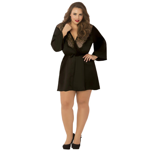 Satin & Eyelash Robe - Queen Size - Black STM-10695XBLK