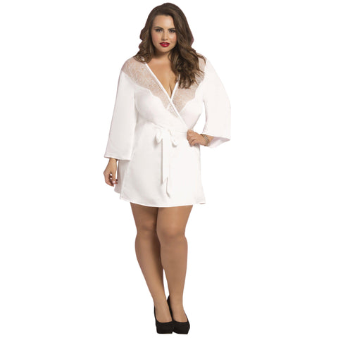 Satin & Eyelash Robe - Queen Size - White STM-10695XWHT