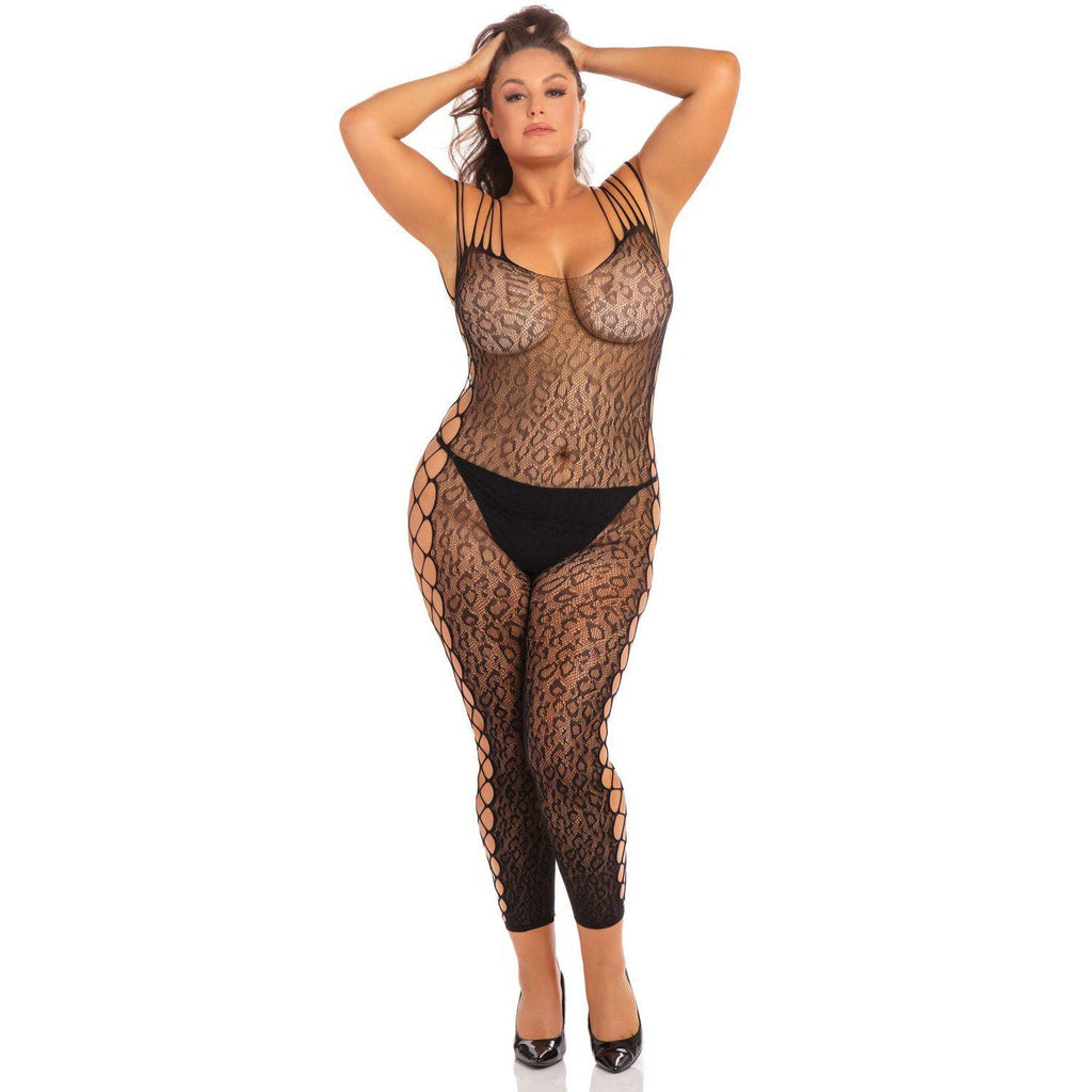 Animal Crotchless Bodystocking - Black - 3x4x RR-7076XBLK3X
