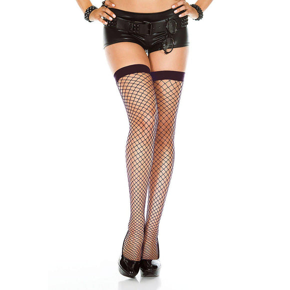 Mini Diamond Net Thigh Hi - One Size - Black ML-4930-BLK